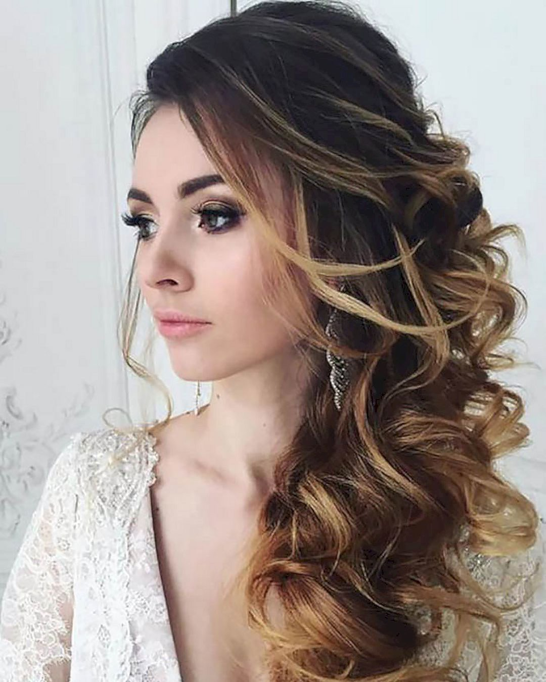 half up half down wedding hairstyles side swept curly elstile