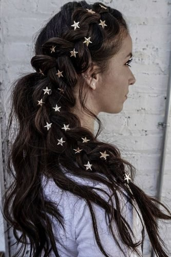 half up half down wedding hairstyles side swept with braid and star pins hair.and.nina