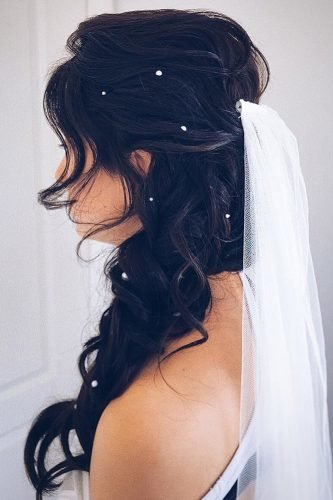 half up half down wedding hairstyles side swept with veil polishedstylejustine