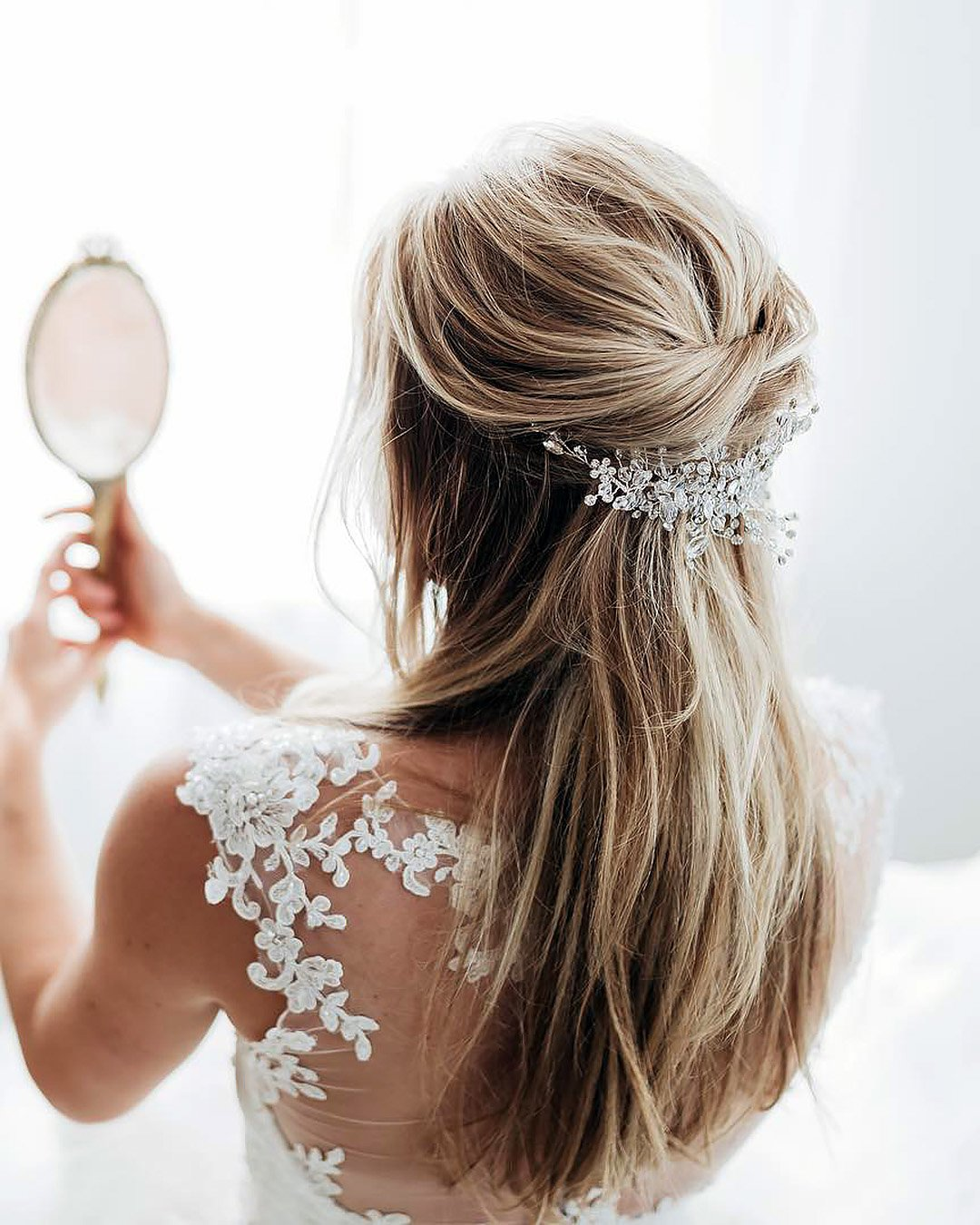half up half down wedding hairstyles simple casual crystal hairpin nicoledrege