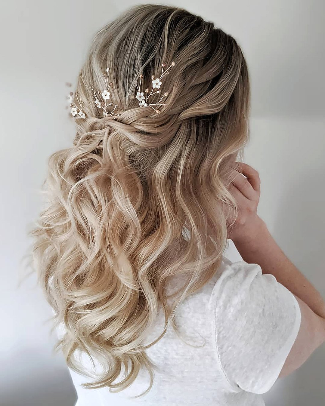 half up half down wedding hairstyles simple casual curls braids hannahblinkohairstylist