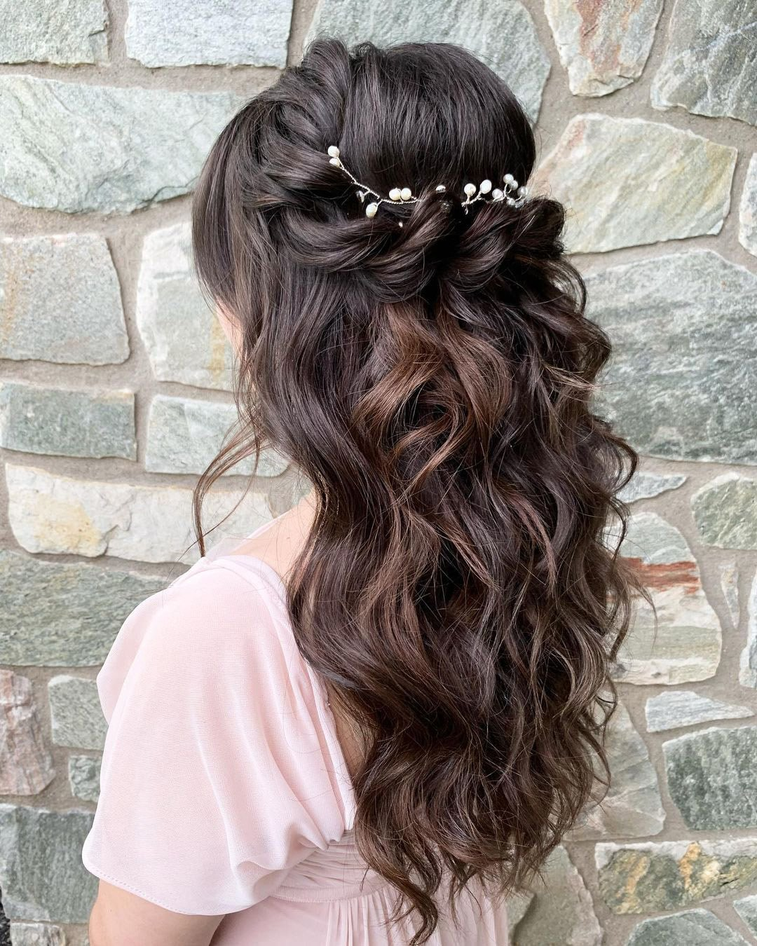 half up half down wedding hairstyles simple curly long with pearls updosbykarina