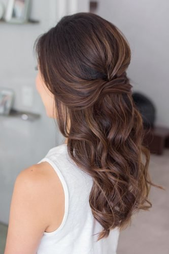 half up half down wedding hairstyles simple swept textured on curly brown hair kellyzhangstudio