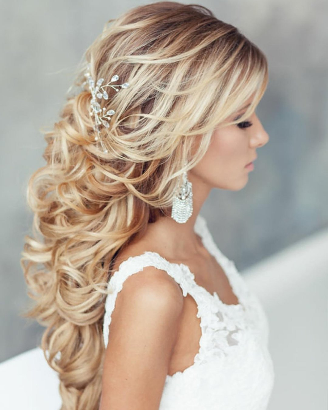 half up half down wedding hairstyles textured beach curls on blonde hair elstile