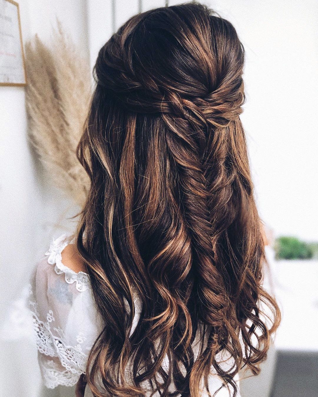 half up half down wedding hairstyles volume braided curls katya.valentinahair