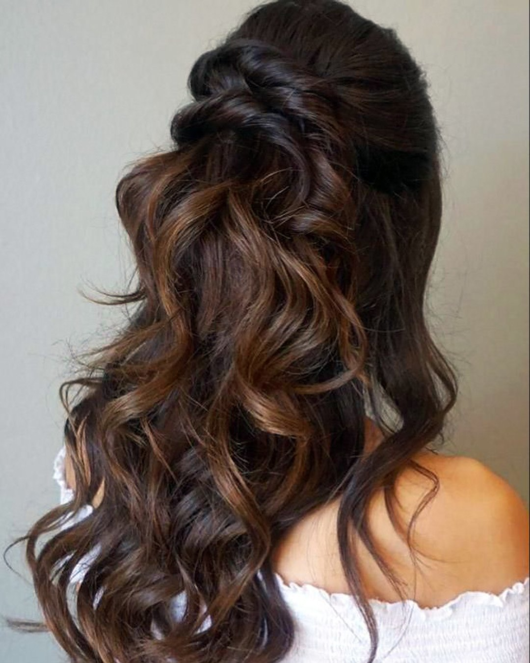 half up half down wedding hairstyles volume curly messy brown martinajagr