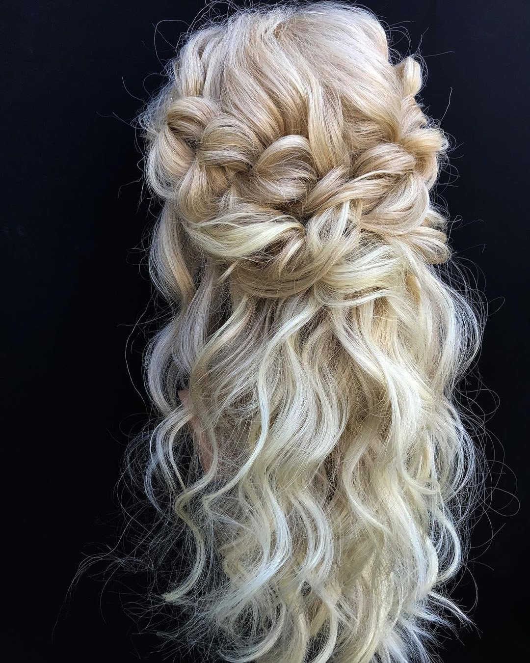 half up half down wedding hairstyles volume curly swept blonde long hair svglamour