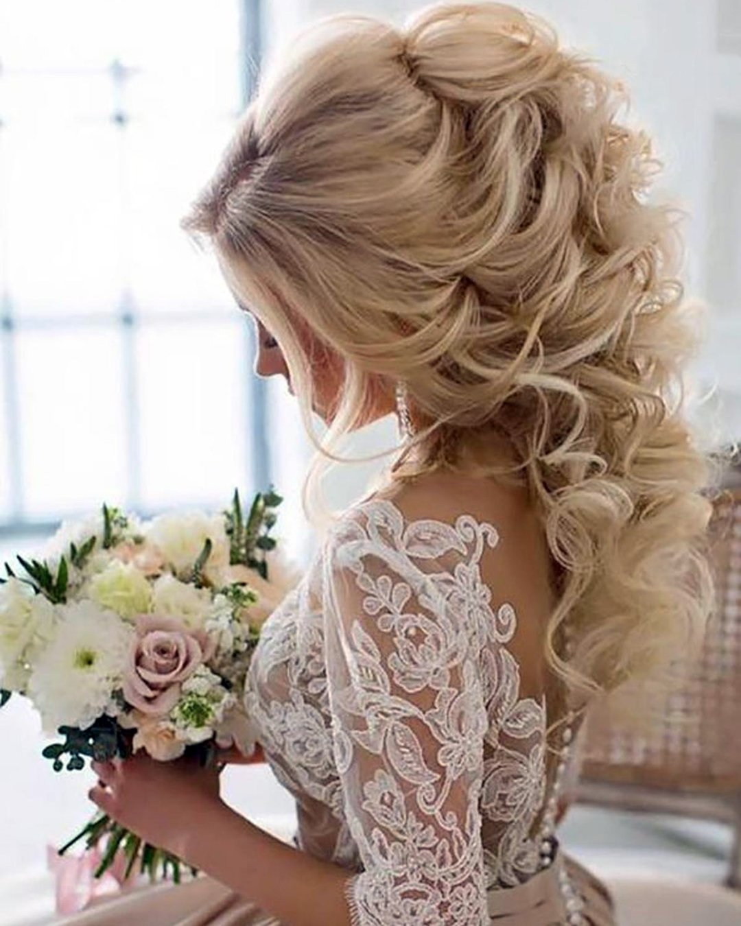 half up half down wedding hairstyles volume high curlo on blonde long hair elstile