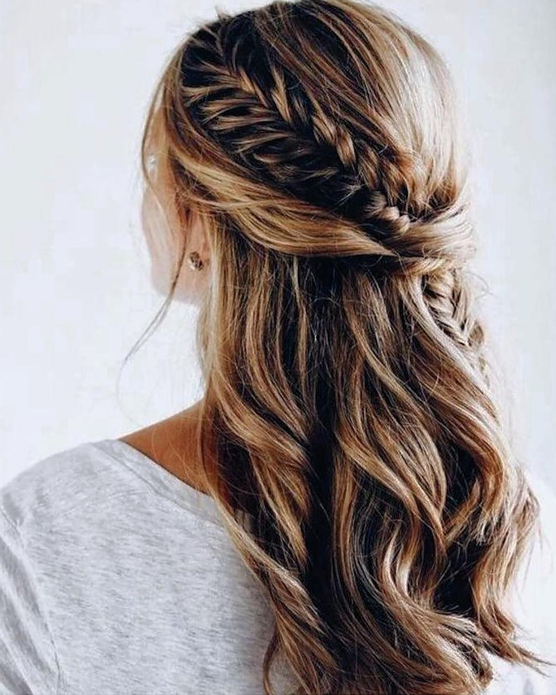 half up half down wedding hairstyles with casual braids anarabyanalerida