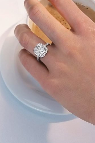 harry winston engagement rings halo cushion cut diamond pave band
