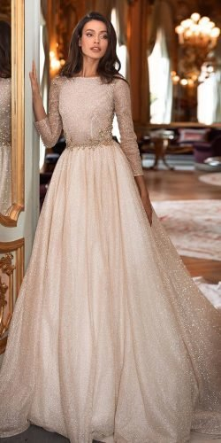 long sleeve wedding dresses a line sequins beige sequins millanova
