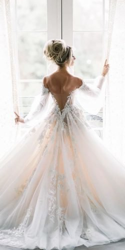 long sleeve wedding dresses a line v back off the shoulder galialahav