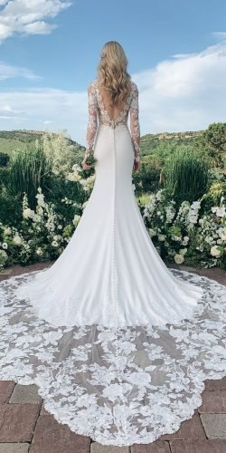 long sleeve wedding dresses fit and flare with illusion sleeves v back martinalianabridal