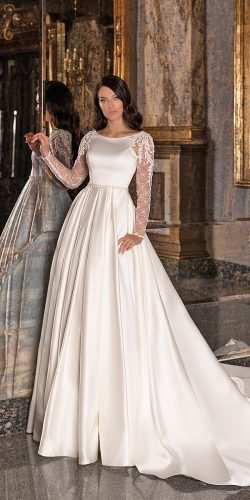 long sleeve wedding dresses modest with train wona