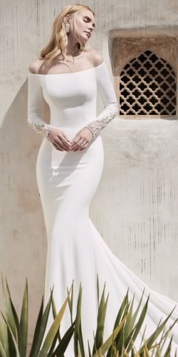 long sleeve wedding dresses sheath off the shoulder maggiesottero