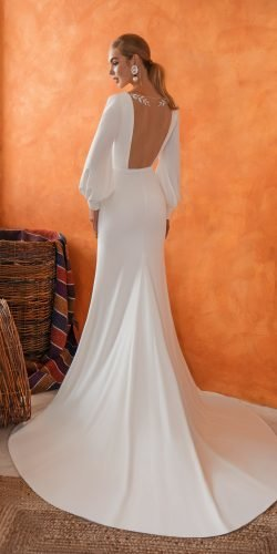 long sleeve wedding dresses simple illusion back innocentia min