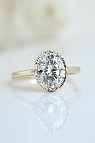 moissanite engagement rings modern setting oval cut gold ring