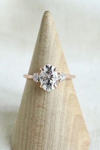 moissanite engagement rings oval cut three stones rose gold