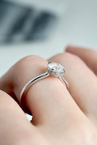 moissanite engagement rings round cut solitaire white gold diamond