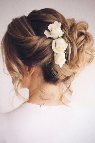 pinterest wedding hairstyles high bun with white roses bridal_hairstylist