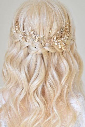 pinterest wedding hairstyles waterfall braid half up half down with blonde curls hairbyamandaf