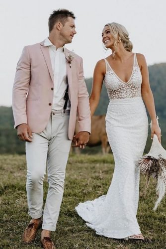 rustic groom attire jacket pink with boutonniere karah lee