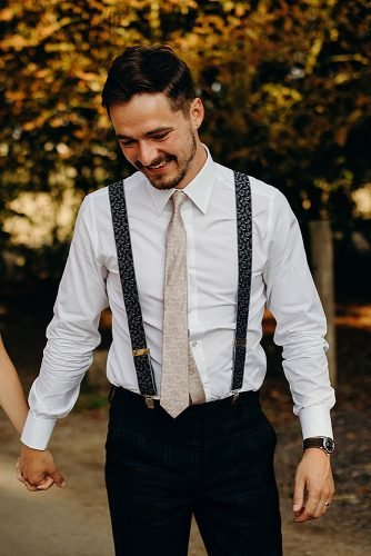 rustic groom attire with bow suspenders country richard skins