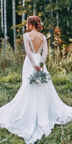rustic wedding dresses a line v back with sleeves lace alexvei