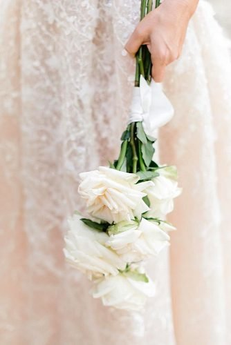 single bloom wedding bouquets roses with ribbon