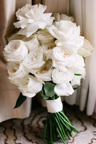 single bloom wedding bouquets white roses bridal bouquet