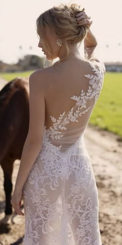 tattoo effect wedding dresses floral appliques lace lian rokman