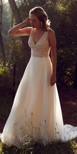 vintage inspired wedding dresses a line v neckline jeweled top justinalexander