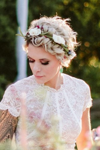wedding hairstyles for curly hair blonde short cut with flower crown ash.salon