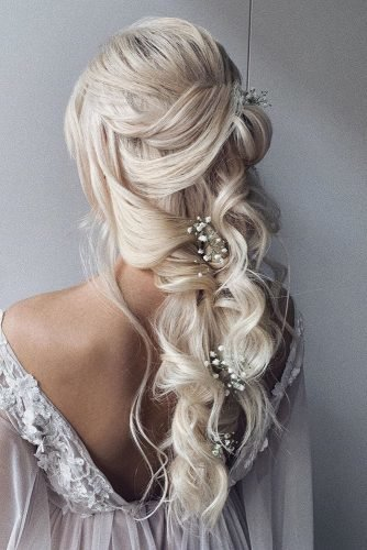 wedding hairstyles for curly hair cascading wavy hair ulyana.aster