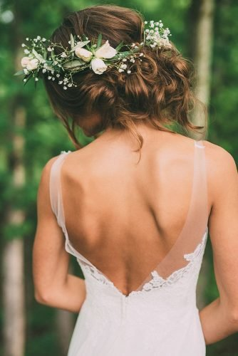 wedding hairstyles for curly hair messy updo flower crown imageisfound