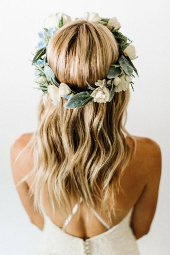 wedding hairstyles for medium hair blonde wavy hair down with flower crown emilyroseflowercrowns