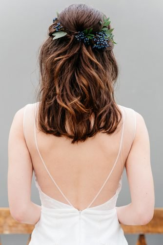 wedding hairstyles for medium hair half up half down with blue berries pins monika schweighardt photography
