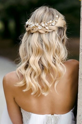 wedding hairstyles for medium hair half up half down with braids and halo on blonde hair taniamarasbridal