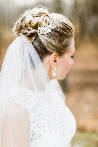 wedding hairstyles for medium hair high bun with veil molly jo collection