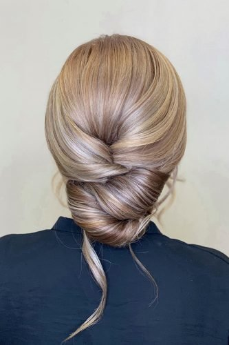 wedding hairstyles for medium hair low swept smooth chignon nastaraneghtedary