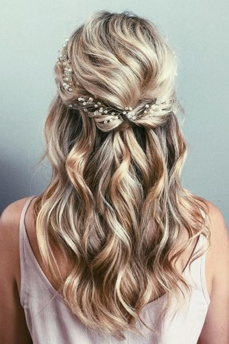 wedding hairstyles for medium hair textured half up half down with bridal halo caraclyne.bridal