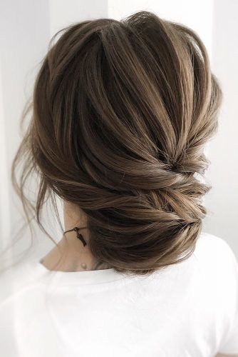 wedding hairstyles for medium hair updo textured low chignon on dark hair juliafratichelli.bridalstylist