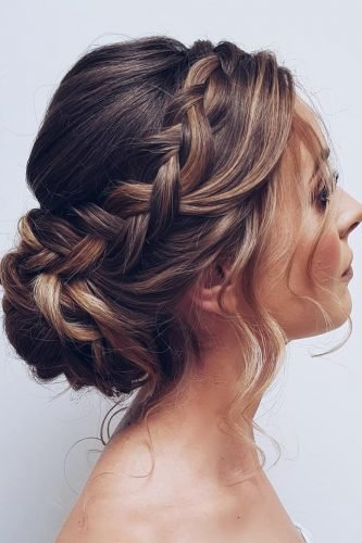 wedding hairstyles for medium hair updo with loose curls low bun side braid hairbyhannahtaylor