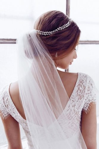 wedding hairstyles with veil elegant low updo with crystal halo anna campbell