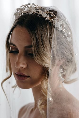 wedding hairstyles with veil updo with loose curls and elegant halo taniamarasbridal