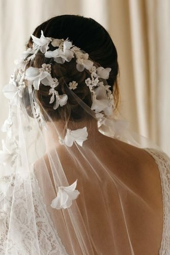 wedding hairstyles with veil white flowers on volume updo taniamarasbridal