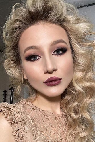 wedding makeup looks matte lips smokey eyes long lashes elena_sanko_make_up