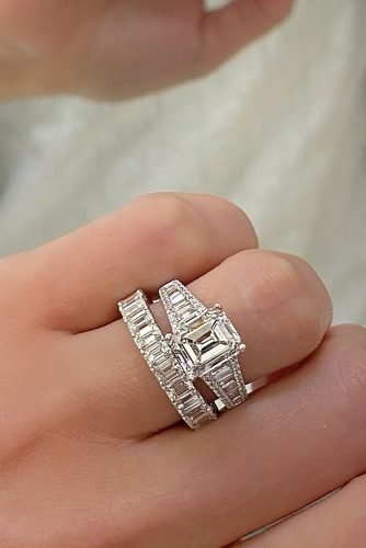 wedding rings modern white gold set diamonds