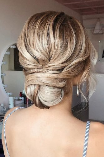 wedding updos for medium hair elegant low textured bun verafursova