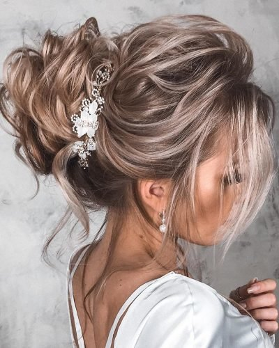 wedding updos for medium hair high blonde loose curls tatistylespb